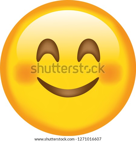 Emoji. Smiling face. Happy. Cute emoticon isolated on white background.