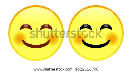 Emoji Smiling Face With Smiling Eyes. A yellow face with smiling eyes and a broad, closed smile turning up to rosy cheeks. Often expresses genuine happiness and warm, positive feelings.