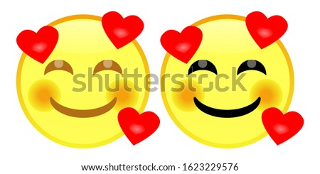 Emoji Smiling face with smiling eyes and three hearts. A yellow face with smiling eyes, a closed smile, rosy cheeks, and several hearts floating around its head. Expresses a range of happy, and love.