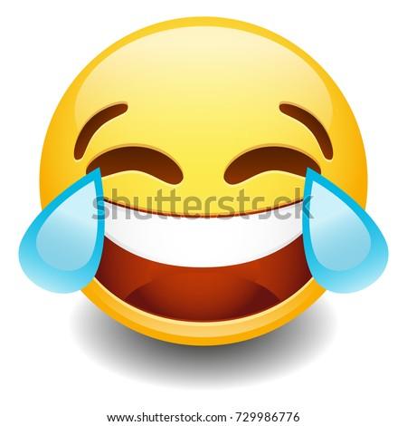 Emoji Tear Laugh. Smiley Face Vector. Design Art. Communication Elements Chat. Emote Symbol.