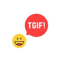 emoji tgif logo like thank god it is friday. flat style satisfied smile chat symbol logotype graphic art design. concept of booze spree, night party, facial joke or joyful isolated on white background