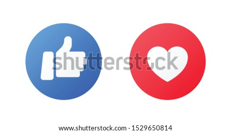 Emoji trumb up and like reactions. Hand and heard icon for social media in flat style. Emoticon good reaction in message and chat. Vector like round blue, red button