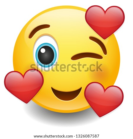 Emoji Wink with Hearts. Icon Communication Design. Chat Emoticon New Symbols.