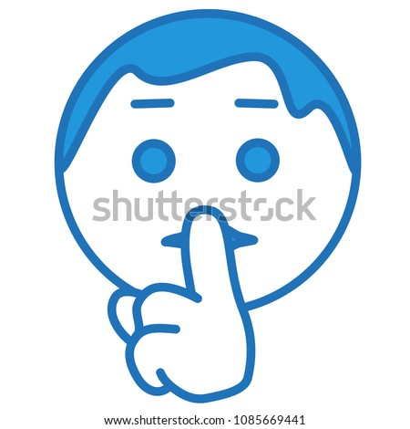 "emoji with character shushing ""Shhh"" to politely tell people to shut up & be quiet to keep silence, man using finger on mouth gesture to stop ppl talking, simple hand drawn emoticon, vector pictogram"