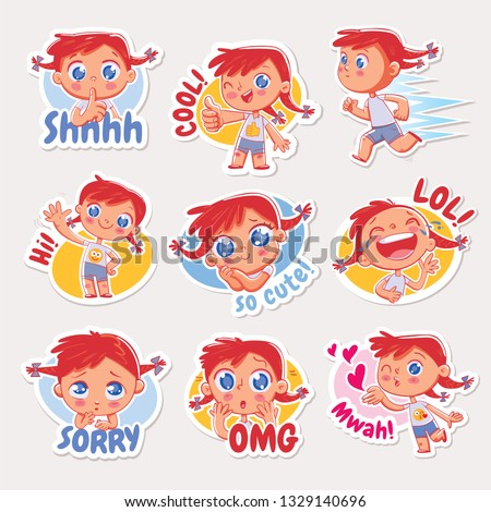 Emoji with cheerful redhead girl. Expressions of different emotions. Emoticon with inscriptions: shh, cool, hi, lol, sorry, omg, mwah. Set Stickers for networking, social media chat, mobile message