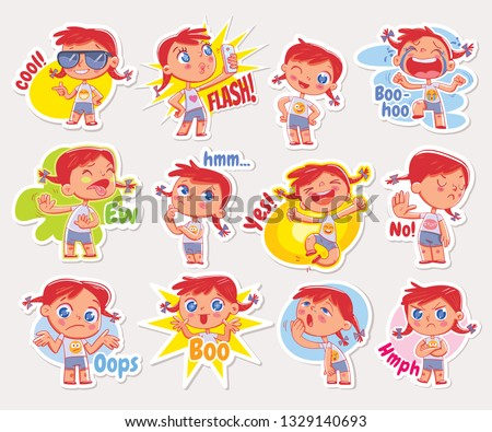 Emoji with cute redhead girl. Expressions of different emotions. Emoticon with inscriptions: ew, cool, flash, boo-hoo, hmm, yes, no, oops, boo, hmph. Set Stickers for online communication