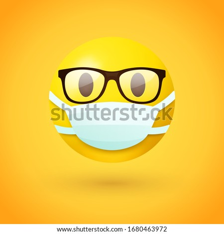 Emoji with glasses wearing mouth mask - yellow face with open eyes wearing a white surgical mask