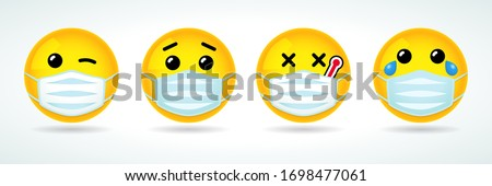 Emoji with guard mouth mask. Yellow smile face with wink, sick, crying and surprised emoticon wearing a white surgical mask. Vector icon