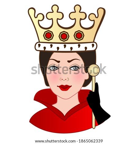 emoji with happy medieval lady, princess or queen wearing her crown and beautiful royal dress with high collar, simple colored emoticon, simplistic colorful vector illustration Photo stock ©