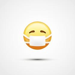 Emoji with medical mask. Virus. Medical mask emoji icon. Vector