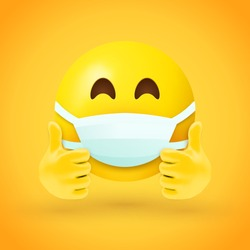 Emoji with mouth mask and thumbs up - yellow face with half-closed eyes wearing a white surgical mask with both hands in thumbs up position