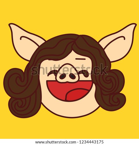 emoji with satisfied pig woman
