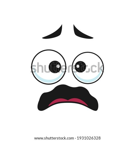 Emoji with shocked facial expression isolated icon. Vector worried, unsure or amazed emoticon with open mouth and big eyes. Scared surprised face, afraid or horrified emoji, panic and horror Photo stock ©