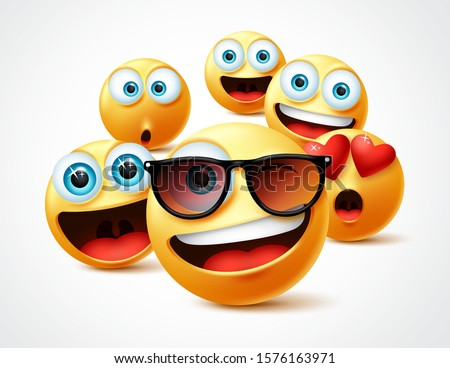 Emojis famous celebrity vector concept. Famous emoticon yellow faces group in 3d realistic avatar with cute, funny, excited, happy and smiling expression in white background. Vector illustration.
