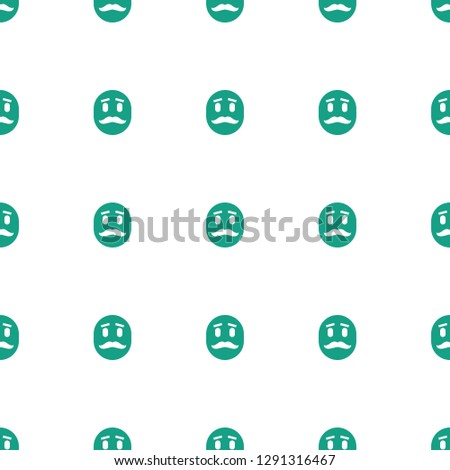 emot with mustache icon pattern seamless white background. Editable filled emot with mustache icon. emot with mustache icon pattern for web and mobile.