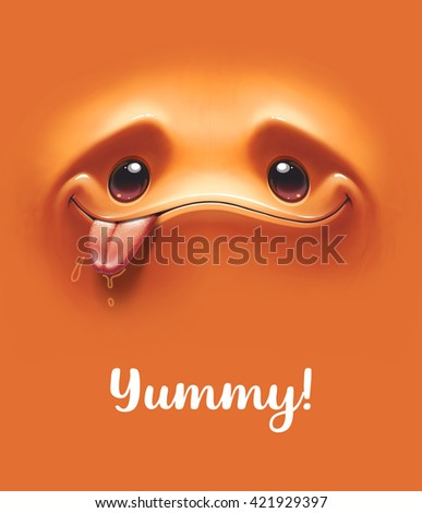 Emoticon background. Hungry expressive smiling cartoon face with tongue out on orange background. Vector illustration