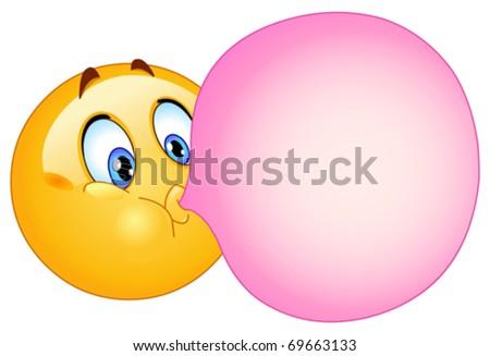 Emoticon blowing a bubble gum