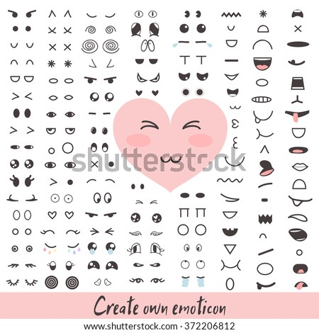 Emoticon creator. Big collection cartoon face. Create your own personality character. Doodle emotion for your cute design. Kawaii faces. Anime smile. Smiley icon constructor. Vector illustration.