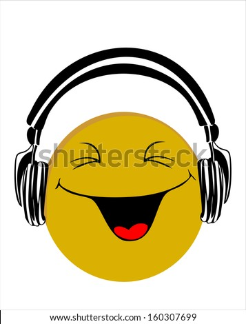 Cute singing emoticon with black… Stock Photo 486195895