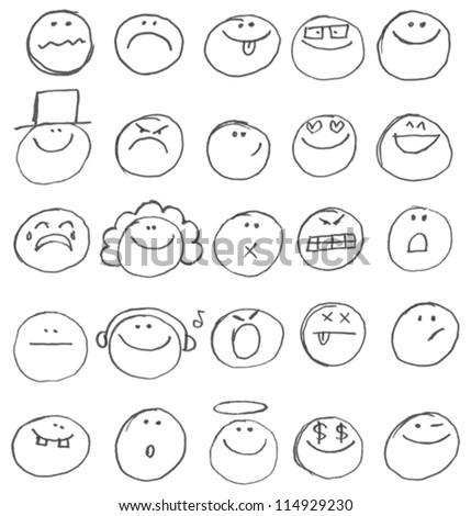 emoticon doodles set vector
