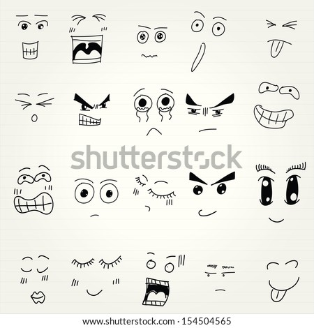 emoticon doodles set vector