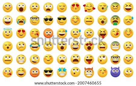 Emoticon emojis vector set. Emoji characters with happy, funny, sad and in love facial expressions isolated in white background for emoticons icon cartoon collection design. Vector illustration  Foto stock ©