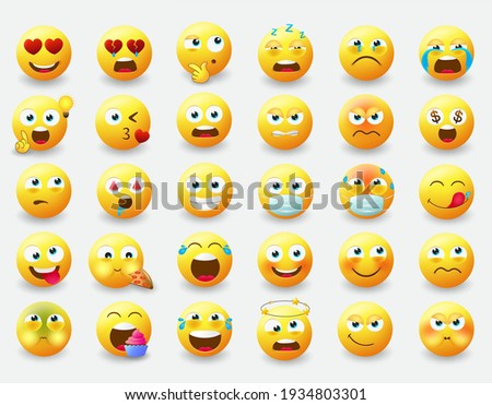 Emoticon emojis vector set. Emoji characters with pose and emotions like happy, in love, eating and thinking in yellow face icon for emoticons avatar character collection design. Vector illustration