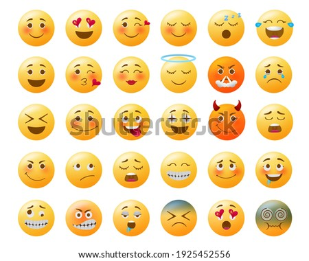 Emoticon emojis vector set.  Emoji yellow with happy, in love, sad and angry facial expressions and emotions for icon collection design. Vector illustration
