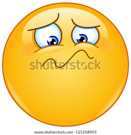 Emoticon feeling unwell, sad, shaken or horrified