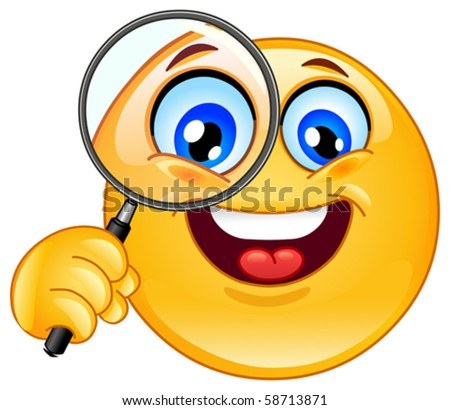 Emoticon holding a magnifying glass