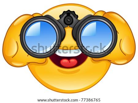 Emoticon looking through binoculars