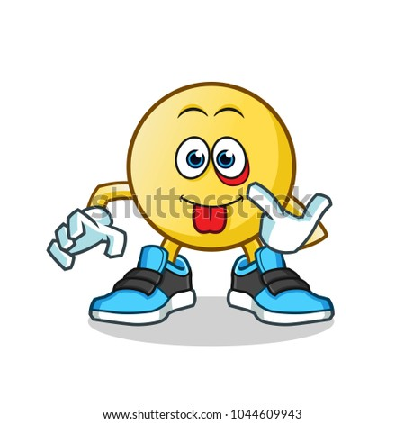 emoticon mocking mascot vector cartoon illustration