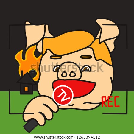 emoticon or emoji of happy fat pig TV reporter w. microphone reporting in live from disaster area, breaking news report about burning house & roof on fire, vintage camera REC border inside frame