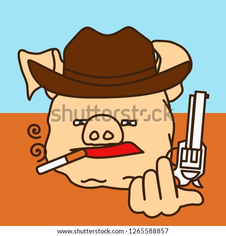 emoticon or emoji of smoking cowboy fat pig tipping his hat with a gun, wild west gunman with a cigarette narrowing his lids & holding a revolver, well-fed piggy drawing, funny porky cartoon character
