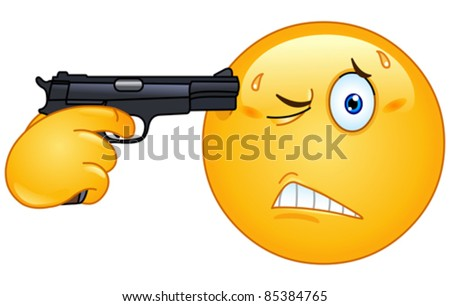 Emoticon pointing a gun on his head