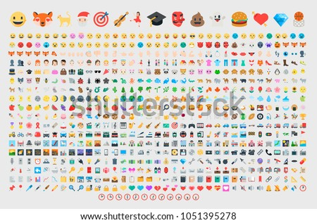Emoticon set. Vector emoji set. Food, sport,  transport, music, people, animal, objects emoticon emoji icon set