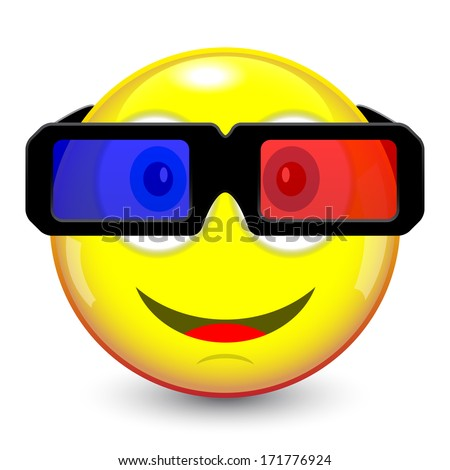 emoticon smile with 3d glasses