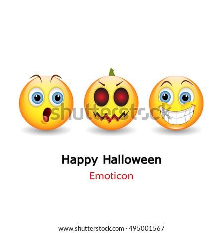 Emoticon with happy halloween,Vector illustration of glossy emoticon.