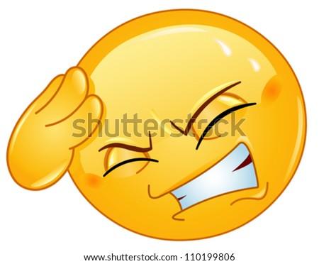 emoticon with headache