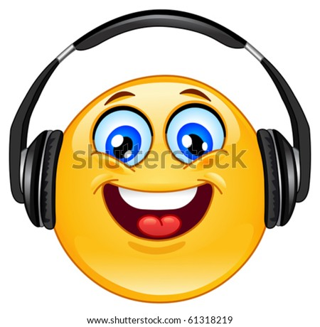Stock Photo Emoticon with headphones