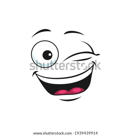Emoticon with mouth open of laugh and blinked eyes isolated icon. Vector happy smiling emoji, giggling emoticon in good mood. Satisfied avatar expression, comic man head, blinked eyes, funny joke sign ストックフォト ©