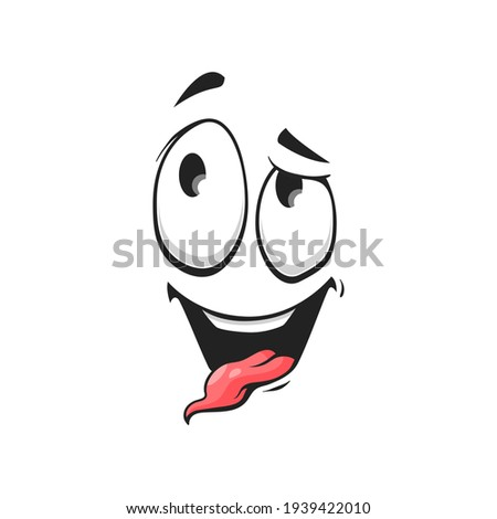 Emoticon with silly eyes, awkward face expression isolated icon. Vector stupid emoji with confused crazy eyes showing tongue. Strange emoji, crazy idiot mascot. Cheerful person social network emoji ストックフォト ©