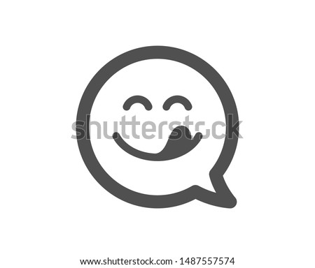 Emoticon with tongue sign. Yummy smile icon. Speech bubble symbol. Classic flat style. Simple yummy smile icon. Vector Photo stock ©