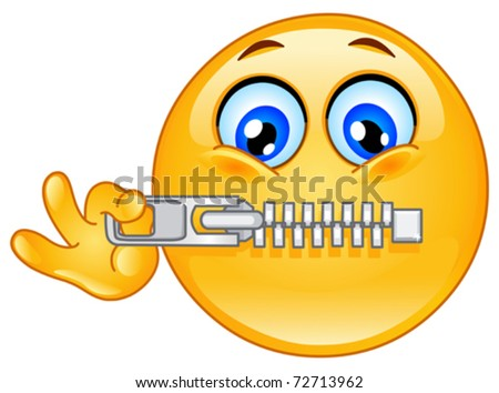 stock vector : Emoticon zipping his mouth