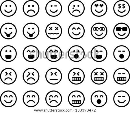 Emoticons image vectorielle 130393472 shutterstock - Smiley noir et blanc ...