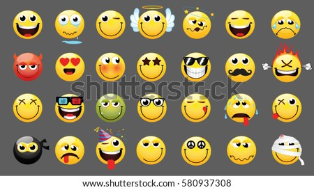 emoticons or smileys icon set