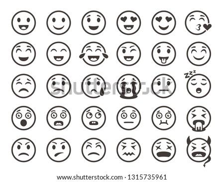 Emoticons outline. Emoji faces emoticon funny smile vector line icons set