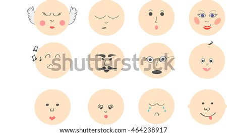 emotikons collection. happy and sad faces vector illustration.  Stock fotó ©