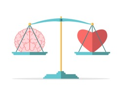 Emotion and intelligence balance, mind, feeling, choice, justice and mercy concept. Brain and heart on scales in equilibrium. Flat design. EPS 8 vector illustration, no transparency, no gradients