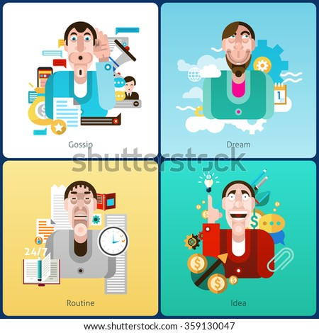Emotion design concept set with gossip dream routine and idea flat icons isolated vector illustration